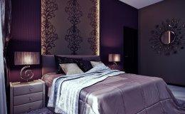 спальня в лиловом цвете