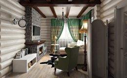 Интерьер бревенчатого дома в городе Люберцы